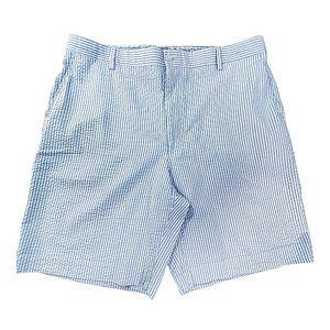 Berle Mens Seersucker Bermuda Blue Striped Shorts